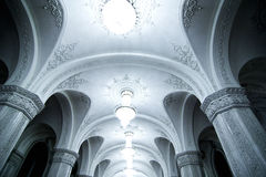 Palace Arches. The ceiling and supporting arched columns inside a palace Royalty Free Stock Photos