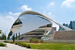 Palace of the Arts in Valence, Spain. VALENCIA, SPAIN - APRIL 28: Palace of the Arts in the City of Arts and Sciences, designed by Santiago Calatrava  on April Stock Photography