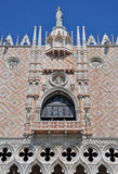 A Palace Balcony and wall in St Mark's Square. A view of the beaautifully decorated walls and balcony of the palace in Saint Mark's Square Venice's waterfront Royalty Free Stock Photography