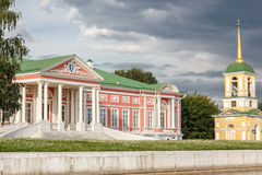 Palace and bell tower. In the Park Kuskovo, Moscow royalty free stock photo