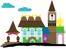 Palace with a belltower and church Royalty Free Stock Photo