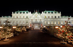 Palace Belvedere with Christmas Market in Vienna Royalty Free Stock Photography