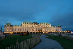 Palace Belvedere with Christmas Market in Vienna, Austria Royalty Free Stock Image