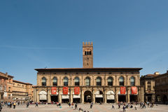 Palace in Bologna main square. Palazzo Re Enzo Stock Photography