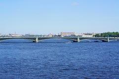 Palace Bridge. Across the Neva River in St. Petersburg Stock Photos