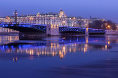 Palace Bridge and the building of the Hermitage at night, St. Pe Royalty Free Stock Photos