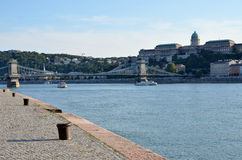 Palace, bridge and the Danube river in Budapest Royalty Free Stock Photo