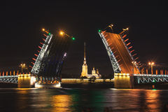 Palace bridge drawing in Saint Petersburg, Russia Stock Photos