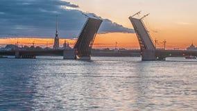 Palace Bridge (Dvortsoviy Most). White Nights. Saint Petersburg, Russia. stock footage