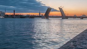 Palace Bridge (Dvortsoviy Most). White Nights. Saint Petersburg, Russia. stock video footage