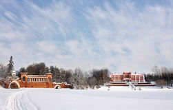 Old time manor in the winter morning Royalty Free Stock Photos