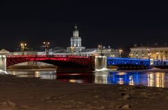The Palace Bridge with illumination in honor of the Chinese New Year. St Petersburg. Russia