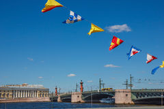 Palace Bridge and naval flags Stock Images