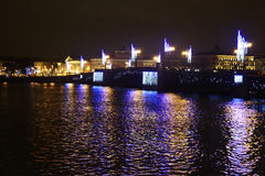 Palace Bridge at night in St.Petersburg Royalty Free Stock Photos