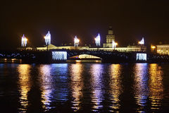 Palace Bridge at night in St.Petersburg Stock Image