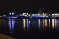 Palace Bridge. Night view at Palace bridge in Saint - Petersburg Royalty Free Stock Images