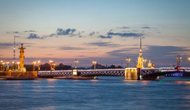 Palace bridge, Peter and Paul Cathedral at night. Saint Petersburg Royalty Free Stock Photo