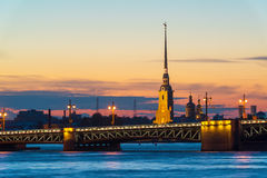 Palace Bridge and Peter and Paul Cathedral in St. Petersburg Stock Photography