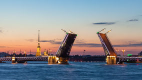 Palace bridge, Peter and Paul Cathedral summer night. Saint Petersburg Royalty Free Stock Images