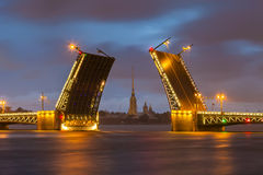 Palace Bridge with Peter and Paul Fortress -  St. Petersburg Royalty Free Stock Photos