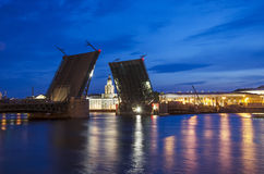 Palace bridge. Raised Palace Bridge over the river Neva in St. Petersburg, Russia. Under construction Stock Photo