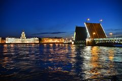 Palace Bridge and the River Neva Royalty Free Stock Image