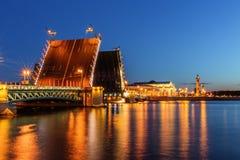 Palace bridge in Saint Petersburg. Drawn at night Stock Image