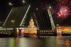 Palace bridge in Saint-Petersburg and fireworks Royalty Free Stock Photography
