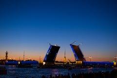 Дворцовый мост ночью/The Palace Bridge in St. Petersburg Royalty Free Stock Photo
