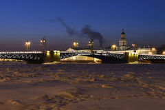 Palace Bridge in St. Petersburg winter view Stock Photo