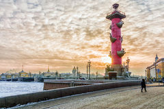 Palace Bridge at sunset in winter in St. Petersburg, Russia Stock Photography