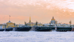 Palace Bridge at sunset in winter in St. Petersburg, Russia Stock Photos
