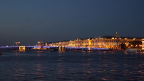 The Palace Bridge and the Winter Palace stock video
