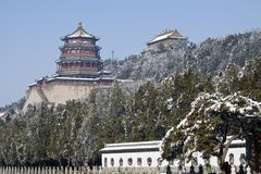 The palace of Buddhist incense in the snow season Stock Photo