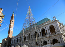 Palace called BASILICA PALLADIANA  in Vicenza in Italy with chri Royalty Free Stock Image