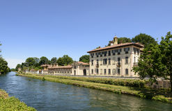 Palace on canal, Cassinetta di Lugagnano Royalty Free Stock Image