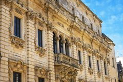 Palace of the Celestines, Lecce, Italy. Details of Palace of the Celestines, Lecce, Italy stock photos