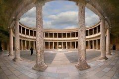 Palace of Charles V. Courtyard of the Palace of Charles V (Palacio de Carlos V) in La Alhambra, Granada, Spain Royalty Free Stock Images