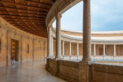 Palace Charles V at Alhambra, Granada. Palace Charles V at Alhambra, now museum, circle in square, Granada, Andalusia, Spain stock photos