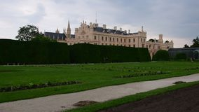 Palace - Chateau Lednice and chateau garden. Castle Lednice, UNESCO world heritage at South Moravia. 4K. Palace - Chateau Lednice and chateau garden. Castle stock footage
