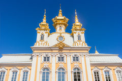 Palace Church. Of the Holy Apostles Peter and Paul facade in Peterhof Stock Images