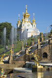Palace Church of saints Peter and Paul from the side of the Grand cascade. Peterhof Royalty Free Stock Photos