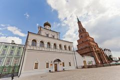 Palace church and Soyembika tower, Kazan, Russia. Palace church (circa XIX c.) and Soyembika leaning tower (circa 1690) of Kazan Kremlin, Republic of Tatarstan Royalty Free Stock Photography