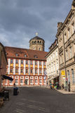 Palace Church and Tower in Bayreuth, Germany, 2015. The octagonal bell tower in Bayreuth was built in 1656 and is located close to the The Old Castle, the tower Royalty Free Stock Images