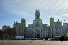 Palace of Cibeles at Cibeles square in City of Madrid. MADRID, SPAIN - JANUARY 24, 2018: Palace of Cibeles at Cibeles square in City of Madrid, Spain royalty free stock images