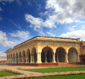Palace with columns in agra fort Stock Photos