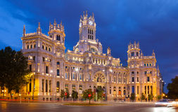 Palace of Communication in summer dusk. Madrid Royalty Free Stock Images