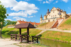 The palace complex in Nesvizh Belarus on the hill Stock Image
