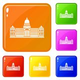 Palace of Congress , Argentina icons set vector color. Palace of Congress in Buenos Aires, Argentina icons set collection vector 6 color isolated on white vector illustration
