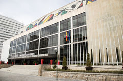 Palace of congresses and exhibitions madrid. On cloudy day Royalty Free Stock Photo